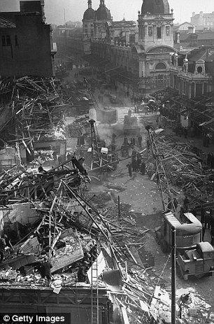 Destruction: Farringdon Street Market in London in March 1945, the day after a V-2 rocket landed killing 380 people