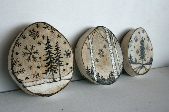 This lovely spalted wood round has a woodland winter wonderland scene burnt into the wood and details have been added with white paint. These beautiful rounds are about 4 inches across and 3/4 inch thick and fell naturally. Each one is a perfect work of art! Sealed and a small hole has been drilled into the back for easy wall hanging on a small nail. Signed and dated on the back. A wonderful and unique addition to woodland decor!  Tastefully wrapped and ready to ship!  These look lovely in a…