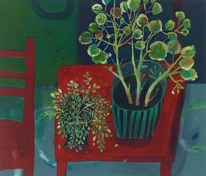 'Red Table and Pot Plants' by South African-born, England-based artist Este MacLeod. via Yellowhouse Art