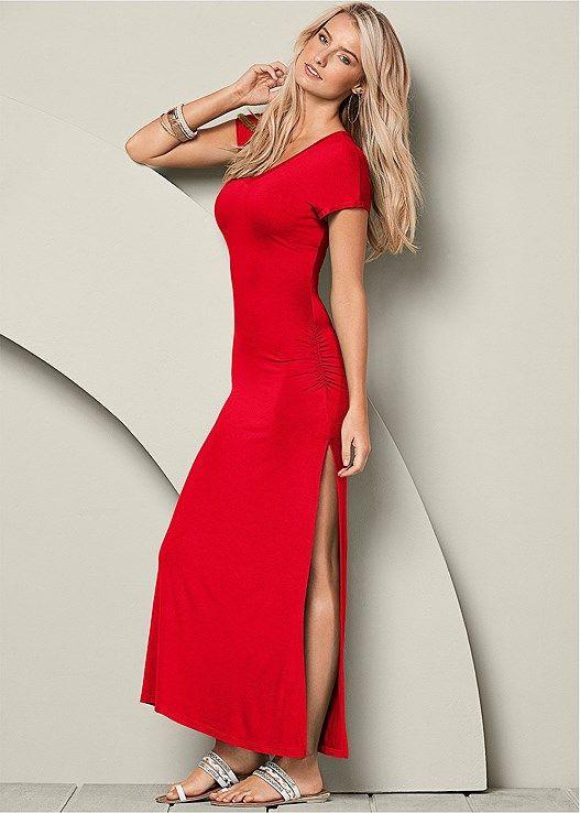Venus Women s V-Neck Maxi Dress With Slit Dresses - Red a540821ff