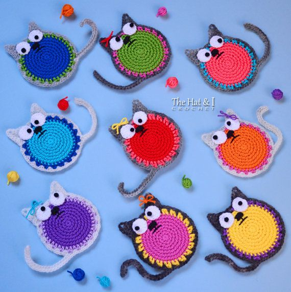 CROCHET PATTERN - Curious Cats - a cat motif/applique/ornament and/or drink coaster - Instant PDF Download