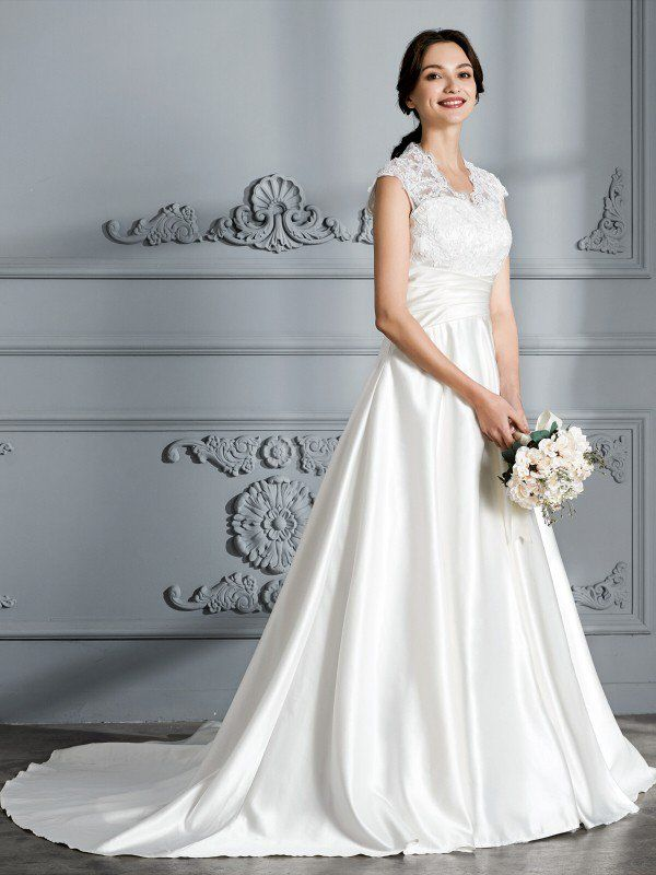 3f2be01dcc20 Ball Gown V-neck Sleeveless Court Train Satin Wedding Dresses - Wedding  Dresses 2018 - Wedding Dresses - Hebeos Online, Spring, Summer, Fall,  Winter, Satin, ...