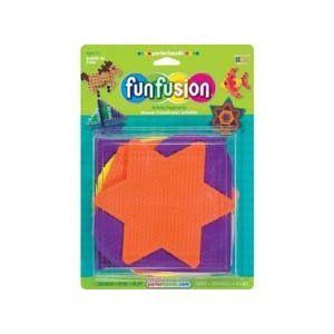 Funfusion Perler Beads Pegboard Set Shapes Lg by Perler. $13.59. 22616. PERLER-Funfusion Activity Pegboards. Perler bead activities are a great way to teach kids counting and colors. Just design; fuse; and play! This package contains five large plastic pegboards: Star (5x 5-3/4in); Heart (6x6-1/2in); Hexagon (5-1/2x6-1/2); Circle (6x6in); Square (5-1/2x5-1/2); plus a re-usable ironing sheet; and instructions. Perler beads not included. Color of pegboards may vary. Recommended...