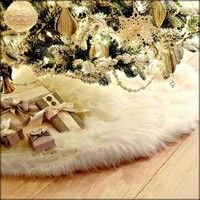 Texture of material: cloth size: 78cm(30.7'') colour: white category: Christmas Tree Skirt