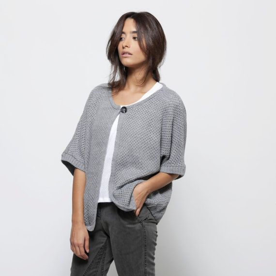 Light grey knitted kimono cardigan fall cardigan by AndyVeEirn, $120.00