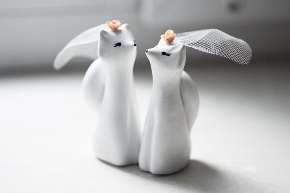 Same Sex Foxes wedding cake topper two female by LilisInspiration