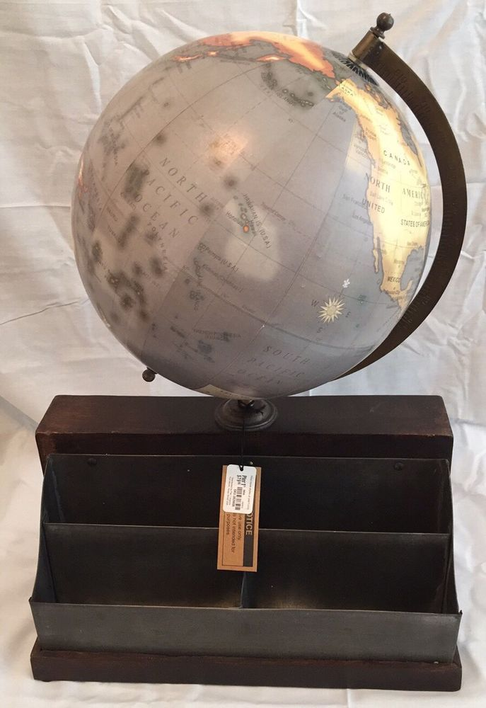 Pier1 Steam Punk Industrial World Globe Map Mail Organizer Depot Decor Table Top  | eBay