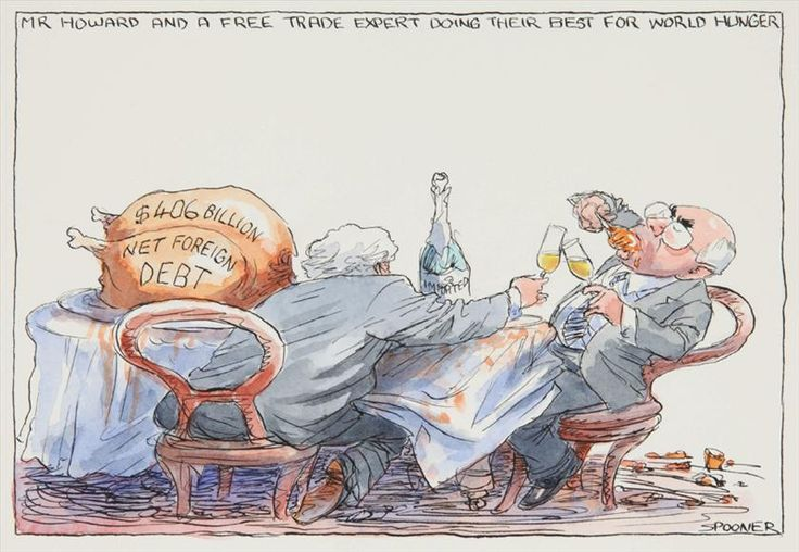 Mr Howard and a free trade expert, John Spooner, 1 December 2004. Original drawing for published cartoon, The Age.