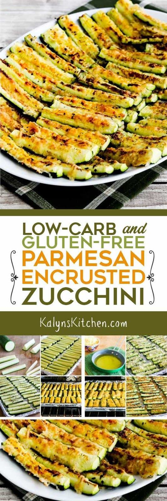 Low-Carb and Gluten-Free Parmesan Encrusted Zucchini is absolutely delicious and couldn't be easier to make, and this wonderful recipe for zucchini is also Keto, low-glycemic, meatless, and can be South Beach Diet friendly with portion control! [found on KalynsKitchen.com]