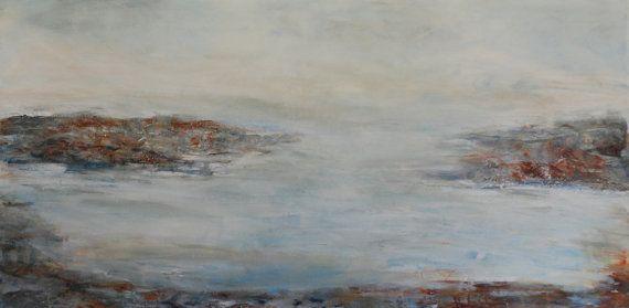 Original Art PAINTING canvas   'Ocean' soft blue by HelenKilsby, $650.00