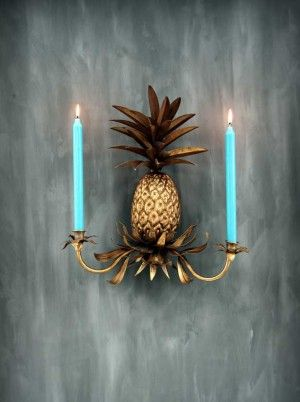 Polished plaster and pineapple sconce