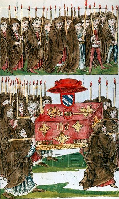 Burial of the Cardinal of Bari. Ulrich von Richental: Konzil von Konstanz. 1465-1475.  Österreichische Nationalbibliothek ; cod. 3044 ; fol. 86r
