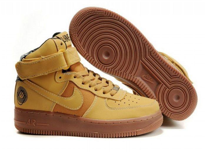 Nike Air Force 1 High Cuir Pour Femme Baskets jaune France Boutique