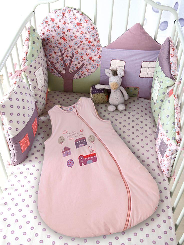 Protector de cuna casitas modulable bebé tema Mi ciudad, Habitación bebé