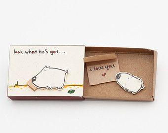 Cute Anniversary Card/ Love Card I love you Matchbox / por shop3xu