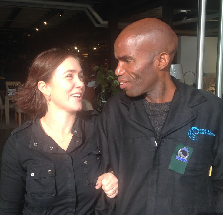 All smiles. Project Partnership Senior Project Manager, Lindy Borchers and Imperial Electrical electrician, Sam, celebrate the opening today of the new Coricraft,Volpes and Dial-a-Bed Megastore. 14 Kramer Road, Sandton, Johanessburg. #design #procurement #construction #project #management