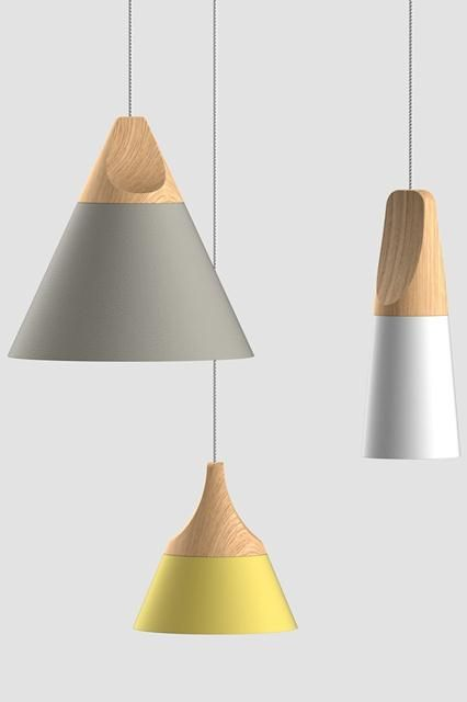 Via Design Daily:  'Slope' pendant light be Skrivo Studio for Miniforms. The light has a beech top with an aluminium shade. Available in three shapes and colours. www.miniforms.eu