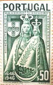 No movimento da restauração destaca-se a coroação de D. João IV como Rei de Portugal, a 15 de Dezembro de 1640, no Terreiro do Paço em Lisboa. Da devoção a Nossa Senhora da Conceição foi novamente sublinhada no gesto que D. João IV assumiu ao coroar a Imagem de Nossa Senhora da Conceição de Vila Viçosa como Rainha de Portugal nas cortes de 1646. Tirou a coroa de sua cabeça e colocou-a na de Nª. Srª. Desde essa data mais NENHUM  REI DE PORTUGAL usou coroa. Esta é quase sempre (cont.1)