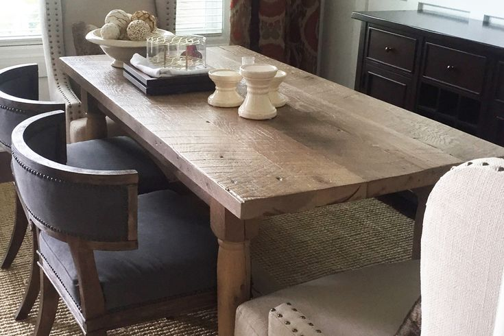 The Franciscan dining table is handcrafted from reclaimed white oak.  The legs were 4in x 4in rough sawn barn beam knee braces that were later turned on a lathe by Amish in Mt Hope Ohio. The trestle is used to add extra strength.  It is finished with a white wash and wax.