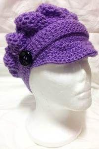 Boina de crochet con visera Boina para mujer con botones estilo capitán.