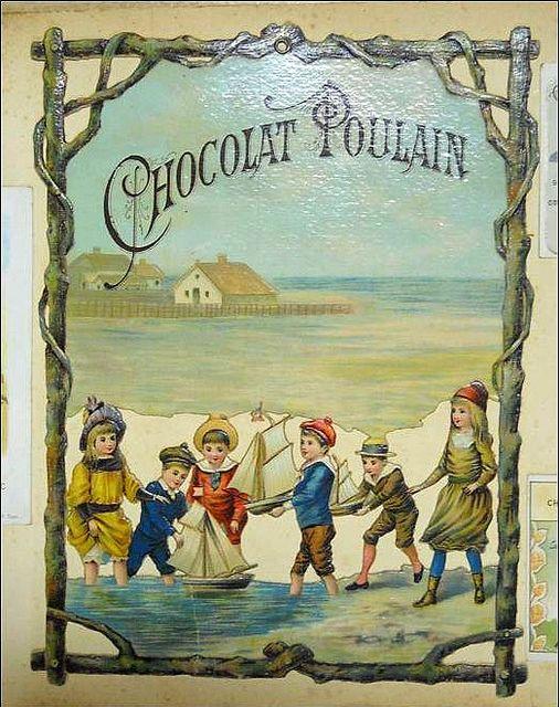 French trade card Magnifique Chromo Chocolat Poulain ajouré à suspendre jeux d´enfants petits bateaux sur la plage GM rare | by oldsailro