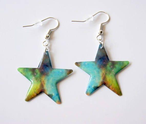 Galaxy Star resin earrings Dangle earrings Space Nebula