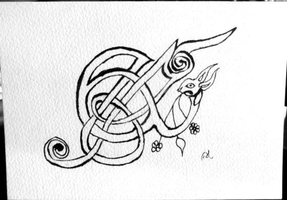 Celtic Rabbit Ampersand Note Card Book of Kells by FHarrisArtShop