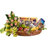 Flowers and Fruits – A combination of fruits  a) 2kg like apples, bananas, grapes etc with  b) assorted  Cadbury chocolates and  c) Horlicks beautifully decorated in a bamboo basket with Roses.