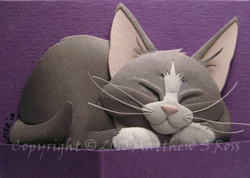 Grey and White Kitten ACEO Cat Paper Sculpture 2D PRINT by Matthew Ross. $8.00, via Etsy.