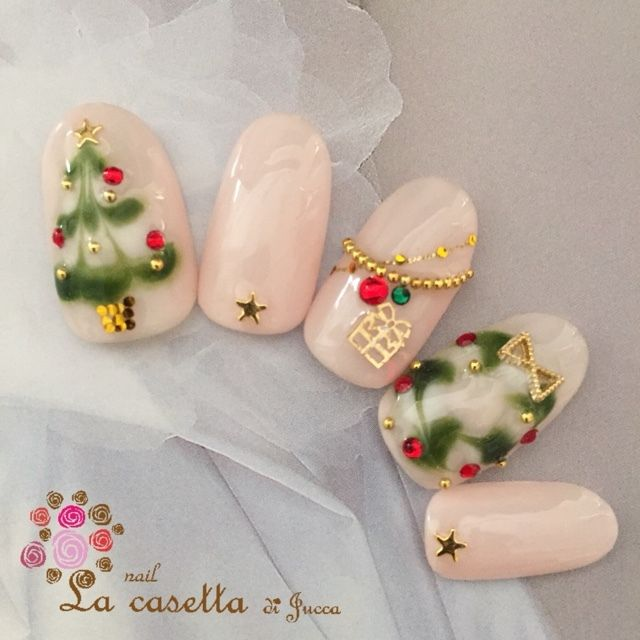 Jollyseason.nailart.green.softpink.