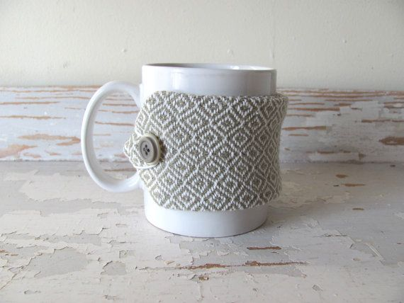 Neutral Beige Gray Coffee Cup Cozy, Large Java Mug Sleeve, Mocha Latte Cocoa Tea Mug Wrap, Foodie Gourmet Office Birthday Gift, Eco Home