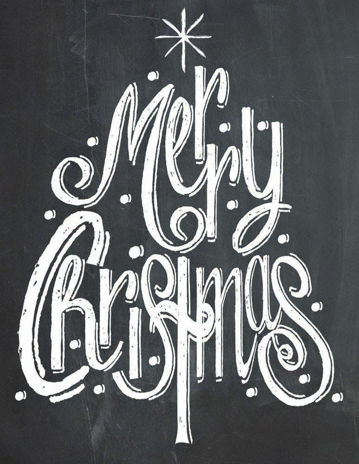Merry Christmas Tree Chalk Print