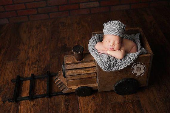 Ready to ship, Baby boy, newborn boy prop, newborn boy hat, Train Conductor hat, train engineer hat, newborn, train photo props, rts prop on Etsy, $35.00