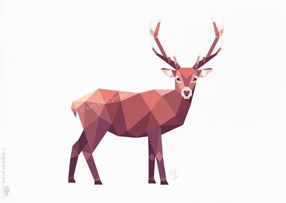 Deer, Stag, Geometric print, Original illustration, Animal print, Minimal art, Nursery wall art