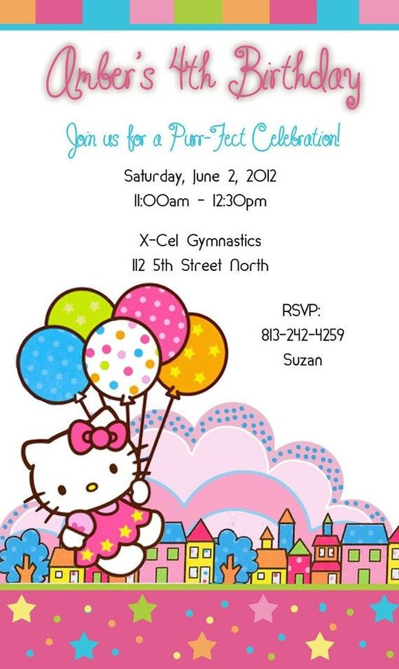 hello kitty party invitation sample for the kids pinterest