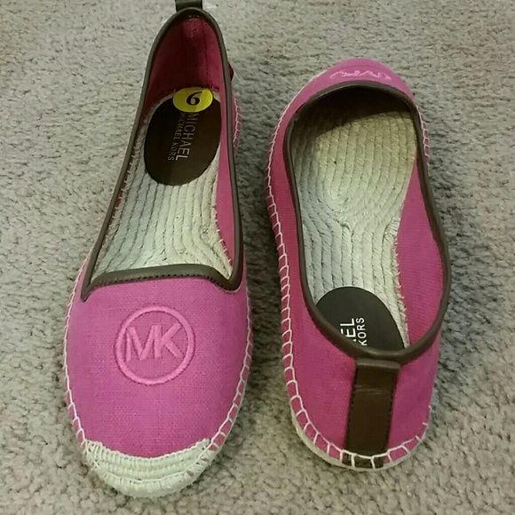 Michael Kors Keli pink Espadrilles 💞💞 Authentic Michael Kors Keli Espadrille.  Pink canvas with brown leather trim.  Brand new and never worn! Michael Kors Shoes
