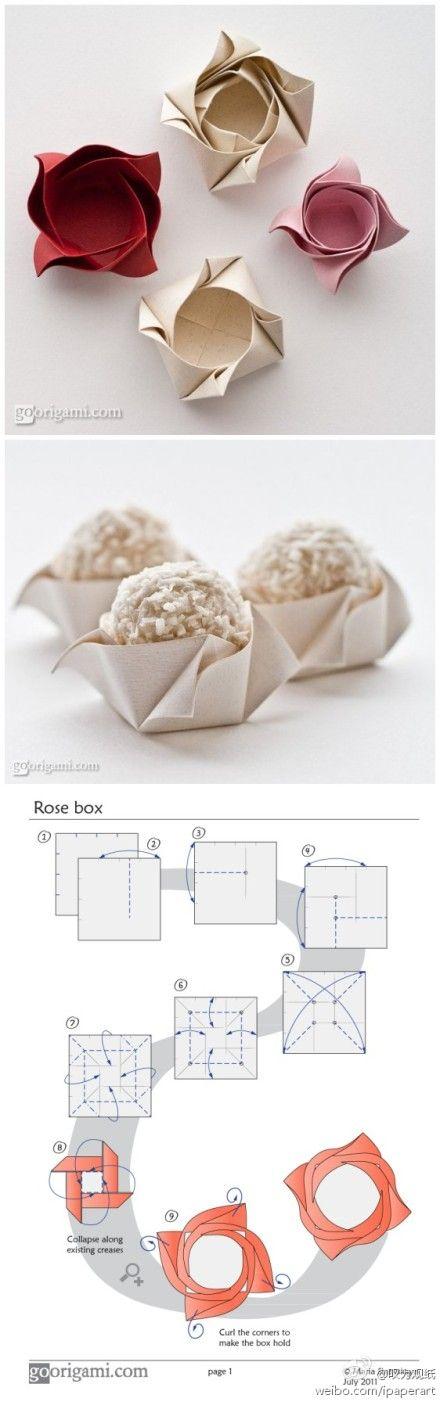 Beautiful and practical rose box ~  goorigami.com