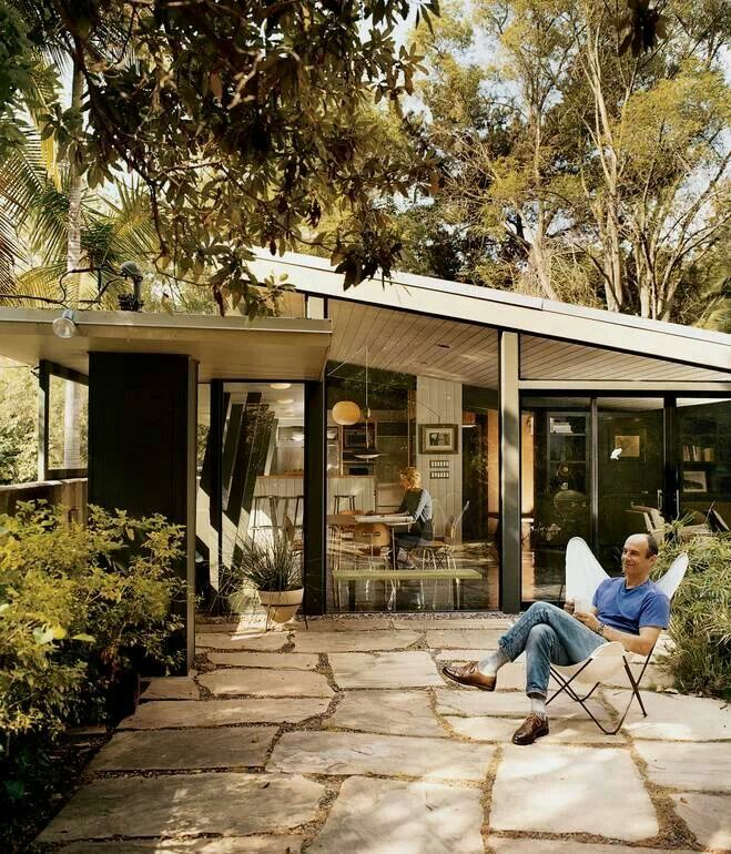 Outdoor space for midcentury style home
