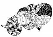 Elefante cabeza doodle en bosquejo blanco vector Gráficos Vectoriales