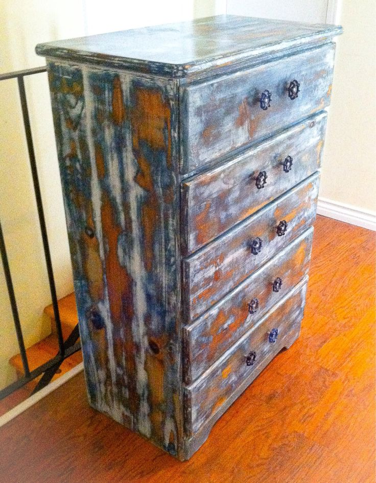 Shabby Chic Dresser, distressed white over shades of blue w/ copper penny…