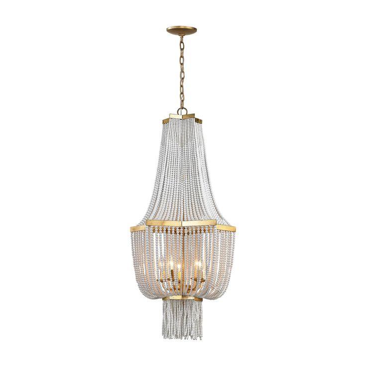 Dimond Chaumont Antique Gold Leaf Five Light Chandelier On SALE