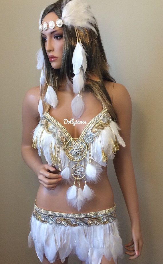 White and Gold Sexy Indian Outfit, Indian Rave Outfit, Sexy Native American Costume, Indian Costume, Pocahontas Costume