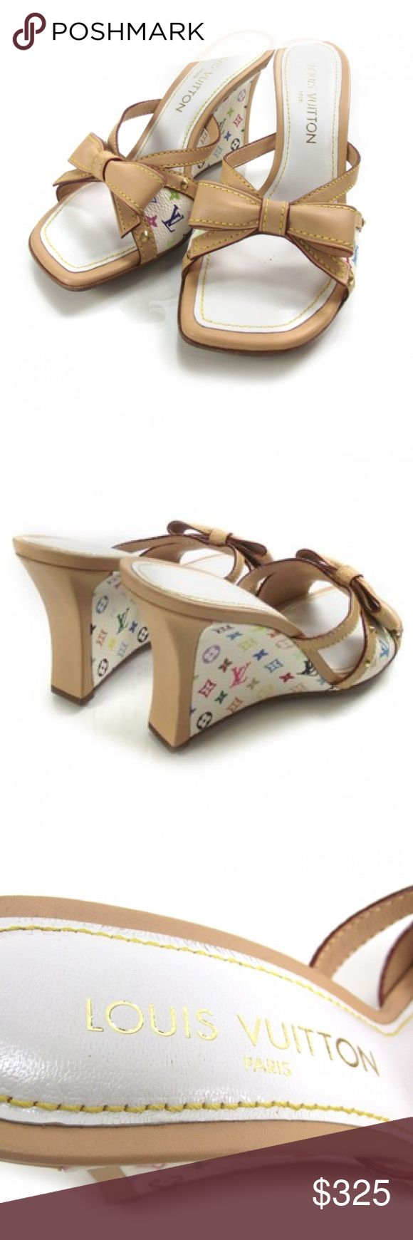 """Louis Vuitton White Multicolor Wedge size 41 Louis Vuitton New Black Multicolor Wedges with Leather Trim and Bow  Made in Italy c. 2004 Insole stamped """"LOUIS VUITTON"""" """"PARIS"""" Leather stamped """"MADE IN ITALY"""" Materials: Canvas and leather trim and bow Sole stamped with LV logo and """"41"""" 4"""" heel height  Marked size 41 estimated to fit US 9-9.5. Worn once Louis Vuitton Shoes Wedges"""
