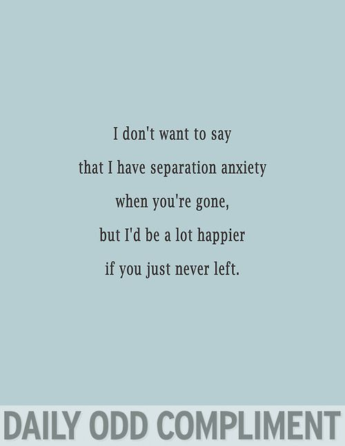 """I don't want to say I have separation anxiety when you're gone, but I'd be a lot happier if you just never left."" Daily Odd Compliment."