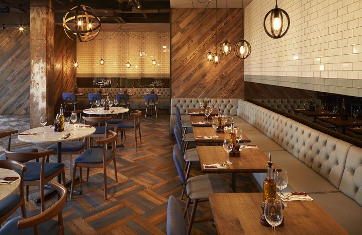 For Wildwood Kitchen Worcester restaurant we stripped everything back to the original finish and added to the reclaimed feel with aged timber, newspapers and special paint effects.
