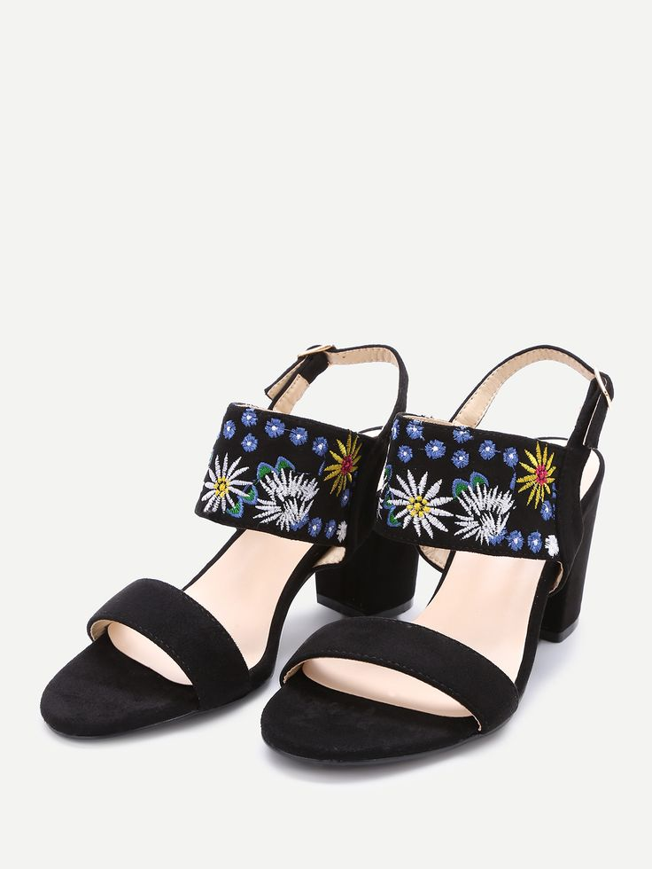 Shop Black Embroidery Strap Chunky Heeled Sandals online. SheIn offers Black Embroidery Strap Chunky Heeled Sandals & more to fit your fashionable needs.