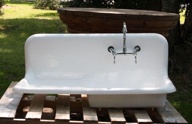 1920s Cast Iron Porcelain Drainboard Farmhouse Sink 42