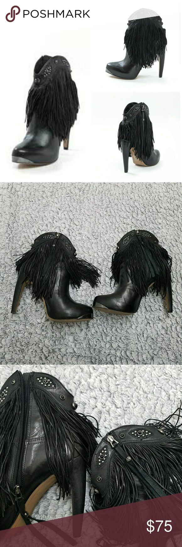 Sam Edelman black fringe Kiana stelito boots In excellent condition worn once inside an event for only a few hours as you can see the bottoms are in almost like new condition no flaws to report. These are unique with detail real leather all gems accounted for. These are so comfortable for stelitos. Haves a silver front.   Please note I do no longer have original box CHECK OUT MY OTHER LISTINGS ON MORE AMAZING DEALS Sam Edelman Shoes Ankle Boots & Booties