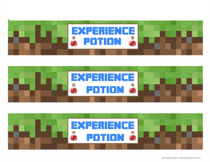 Experience Potion Labels. Template downloaded from http://catchmyparty.com/blog/free-minecraft ...