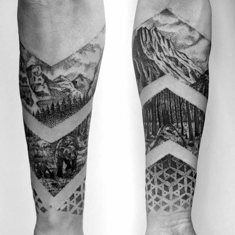 Geometric nature band tattoo by @shnioka on Instagram